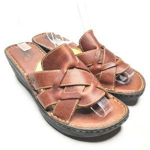 Born Caged Brown Leather Sandals Slip On Platform
